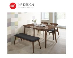 MF DESIGN Borato Dining Set (1 Table + 4 Chair + Bench) - Scandinavian Style [Full Solid Wood]